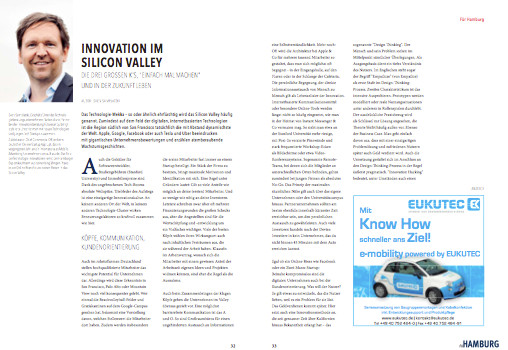 Innovation im Valley Artikel im Für Hamburger